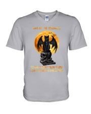 Black Cat Give Me Strength V-Neck T-Shirt thumbnail