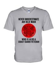 Coast Guard Veteran Never Underestimate V-Neck T-Shirt tile