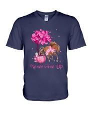 Breast Cancer Horse V-Neck T-Shirt tile
