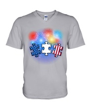 Autism Independence Day  V-Neck T-Shirt thumbnail