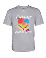 Autism - Embrace Differences 2 Sides V-Neck T-Shirt tile