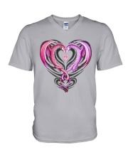 Dragon Breast Cancer V-Neck T-Shirt thumbnail