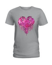 Breast Cancer Dragon Heart Ladies T-Shirt thumbnail