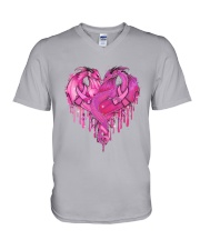 Breast Cancer Dragon Heart V-Neck T-Shirt thumbnail