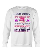 Flamingo Camping Lady Crewneck Sweatshirt tile