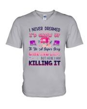Flamingo Camping Lady V-Neck T-Shirt tile