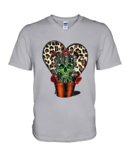 Skull Cactus Leopard Love V-Neck T-Shirt thumbnail