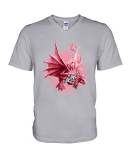 Nurse-Strong Like A Dragon V-Neck T-Shirt tile