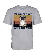 Pug - Eff See Kay V-Neck T-Shirt tile