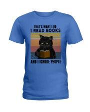 Black Cat I Read Book Ladies T-Shirt thumbnail