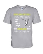 Softball And Dog V-Neck T-Shirt thumbnail