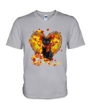Autumn Cat Heart V-Neck T-Shirt tile