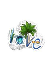 Turtle Love Beach Sticker - 10 pack (Horizontal) front