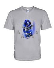Back The Blue Rose V-Neck T-Shirt tile
