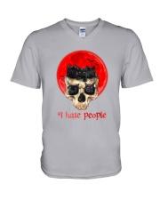 Black Cat I Hate People  V-Neck T-Shirt tile