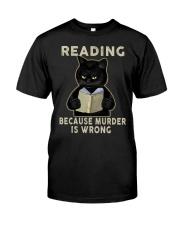 Black Cat Reading  Classic T-Shirt front