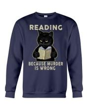 Black Cat Reading  Crewneck Sweatshirt tile