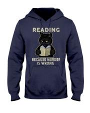 Black Cat Reading  Hooded Sweatshirt tile