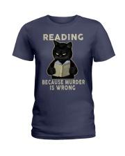 Black Cat Reading  Ladies T-Shirt tile