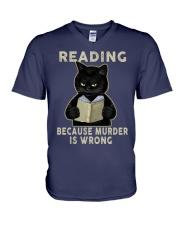 Black Cat Reading  V-Neck T-Shirt tile