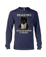 Black Cat Reading  Long Sleeve Tee tile