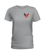 Breast Cancer Butterfly Flag 2 Sides Ladies T-Shirt thumbnail
