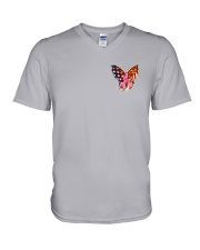 Breast Cancer Butterfly Flag 2 Sides V-Neck T-Shirt thumbnail