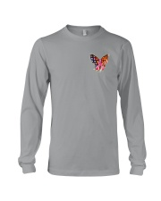 Breast Cancer Butterfly Flag 2 Sides Long Sleeve Tee thumbnail