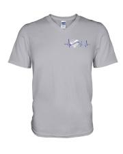 Back The Blue Hologram 2 sides V-Neck T-Shirt thumbnail