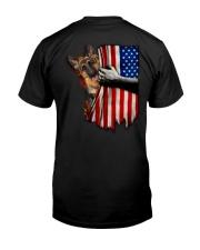 German Shepherd - American Flag 2 sides Classic T-Shirt back