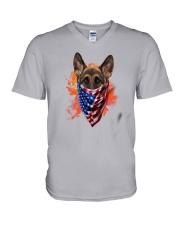 German Shepherd - American Flag 2 sides V-Neck T-Shirt thumbnail