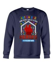 Autism Dad Rasing Hero Crewneck Sweatshirt thumbnail