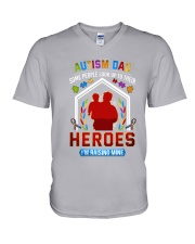 Autism Dad Rasing Hero V-Neck T-Shirt thumbnail