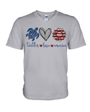 Turtle Love America V-Neck T-Shirt thumbnail