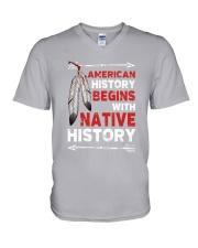 Native - American Begins History V-Neck T-Shirt tile