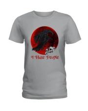Skull - Raven I Hate People Ladies T-Shirt tile