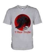 Skull - Raven I Hate People V-Neck T-Shirt tile