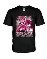 Tiger Breast Cancer V-Neck T-Shirt tile