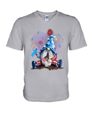 Diabetes Independence Day Gnomie V-Neck T-Shirt tile