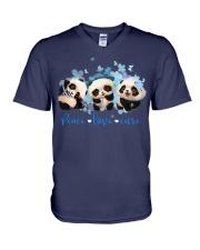Diabetes Panda - Peace Love Cure V-Neck T-Shirt tile
