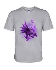 Fibromyalgia-Strong Like A Dragon V-Neck T-Shirt thumbnail