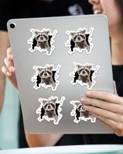 raccoon crack sticker Sticker - 6 pack (Horizontal) aos-sticker-6-pack-horizontal-lifestyle-front-11