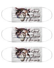 this girl runs on jesus and horses mas Cloth Face Mask - 3 Pack front