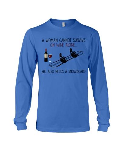 snowboard woman wine