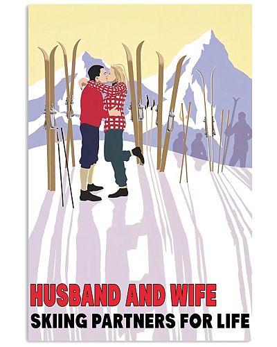 skiing partner husband wife poster
