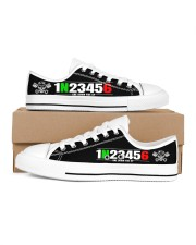 biker number shoe Men's Low Top White Shoes inside-right-outside-right
