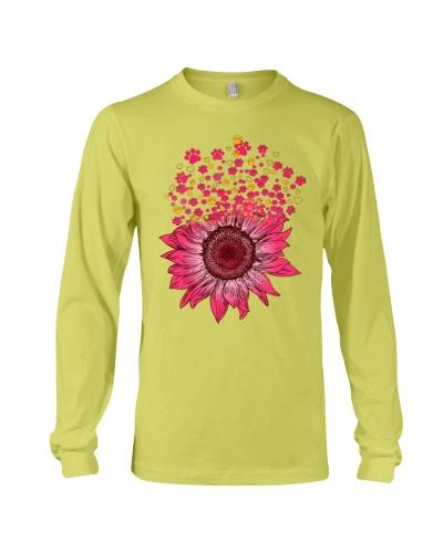 dog sunflower pink yellow