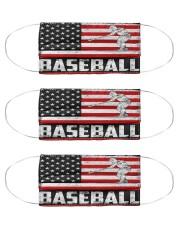 baseball us flag mas Cloth Face Mask - 3 Pack front