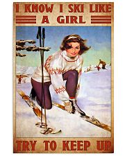 skiing girl try to keep up poster 11x17 Poster front