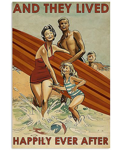 surfing Family On Beach Lived Happily